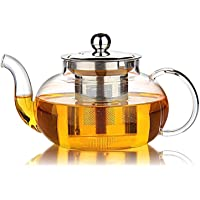 Hiware Good Glass Teapot with Stainless Steel Infuser & Lid, Borosilicate Glass Tea Kettle Stovetop Safe, Blooming…