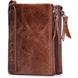 Contatti da uomo in vera pelle Bifold Portamonete a doppia tasca con zip