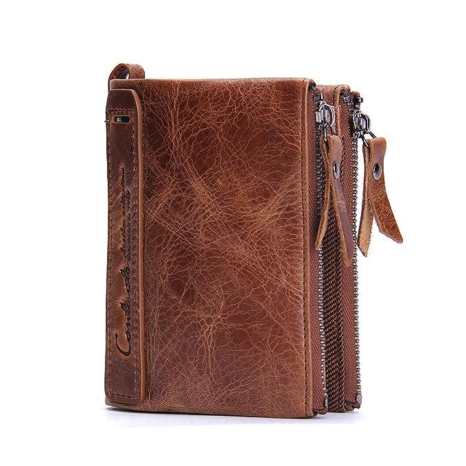 cfb045779 Contacts Cartera doble Bifold del monedero del bolsillo de la moneda de la  cremallera del cuero genuino de los hombres Marrón: Amazon.es: Equipaje