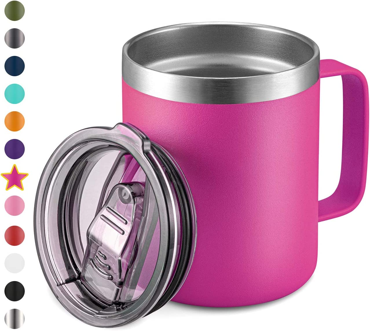 12oz Stainless Steel Insulated Coffee Mug with Handle, Double Wall Vacuum Travel Mug, Tumbler Cup with Sliding Lid, Fuschia