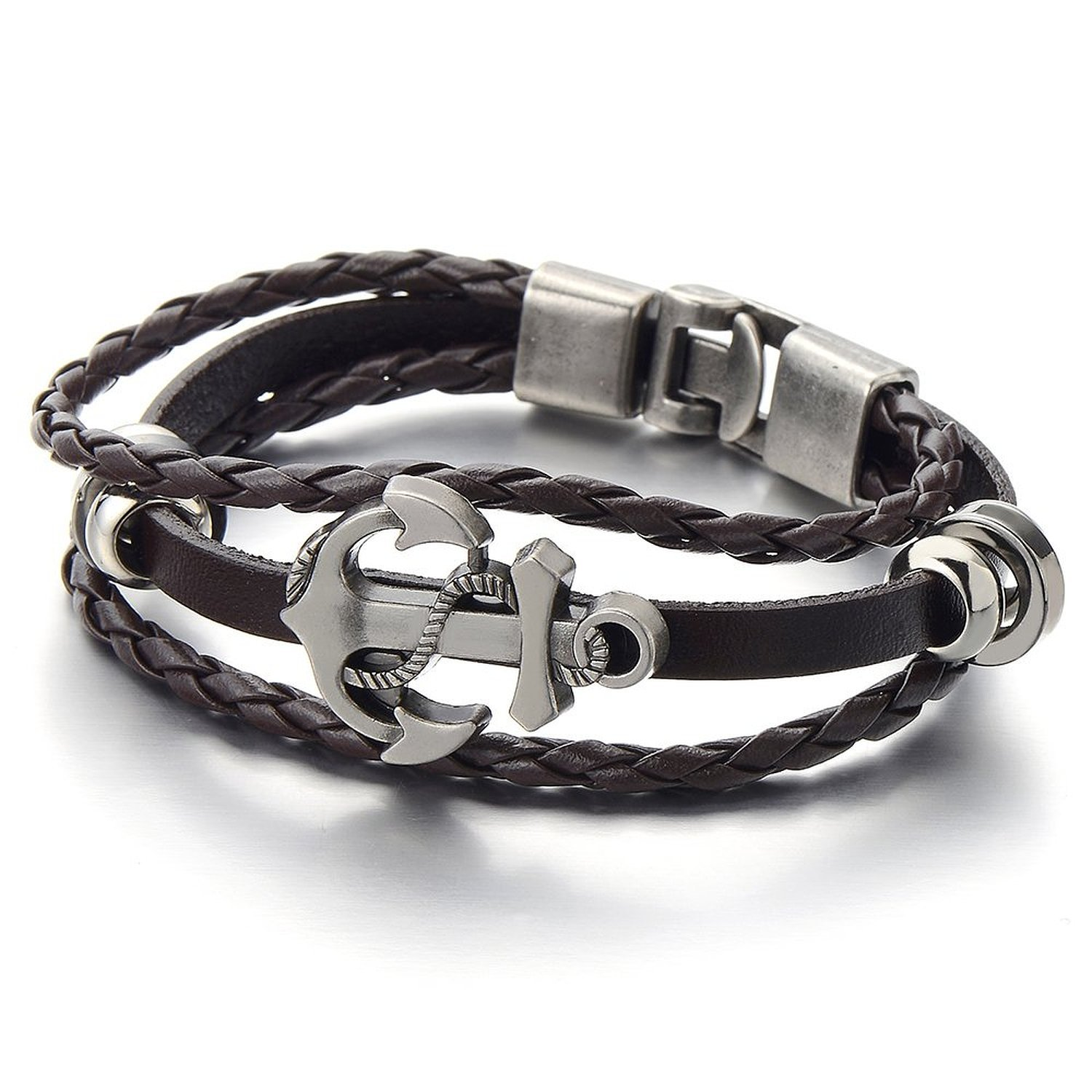 Mens Boys Anchor Brown Braided Leather Bracelet Multi-strand Leather Wristband Wrap Bracelet COOLSTEELANDBEYOND MB-724-CA