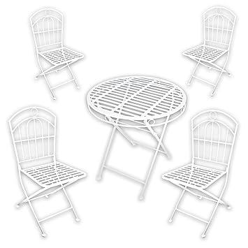 Metall Gartenmöbel SET - 1x Tisch 4x Stuhl \