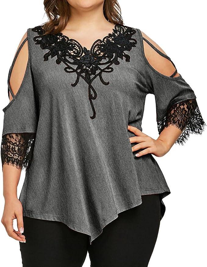 Auifor Mujer de Gran tamaño con Encaje Fuera del Hombro Camiseta ...