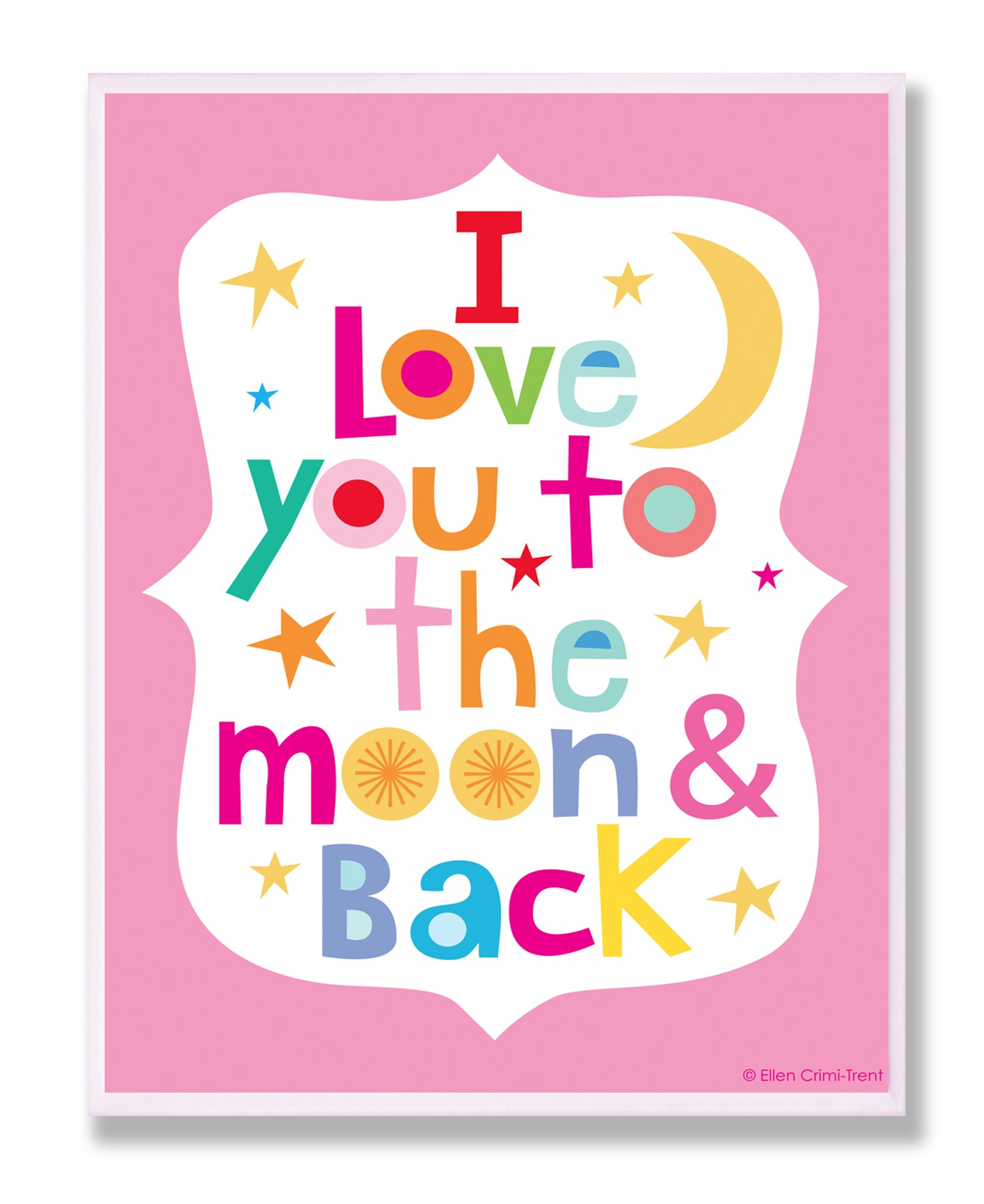 The Kids Room by Stupell I Love You To The Moon And Back On Pink Background Rectangle Wall Plaque, 11 x 0.5 x 15, Proudly Made in USA