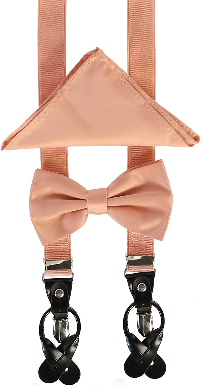 "New Men's 1"" Skinny Convertible Suspender Set w// Bow Tie /& Hankie/_METALLIC Color"