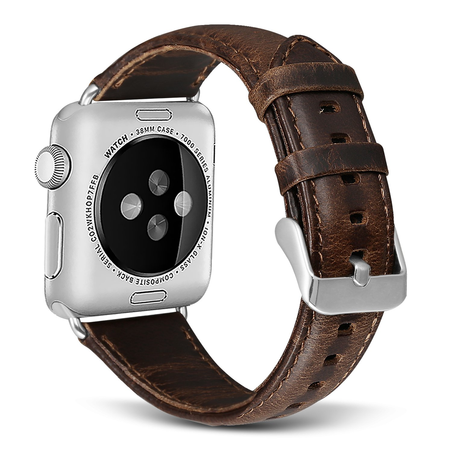 SKYLET Bands Compatible with Apple Watch, 38mm/42mm Retro Genuine Leather Straps with Metal Clasp Compatible with Apple Watch Series 3 Series 1 Series ...
