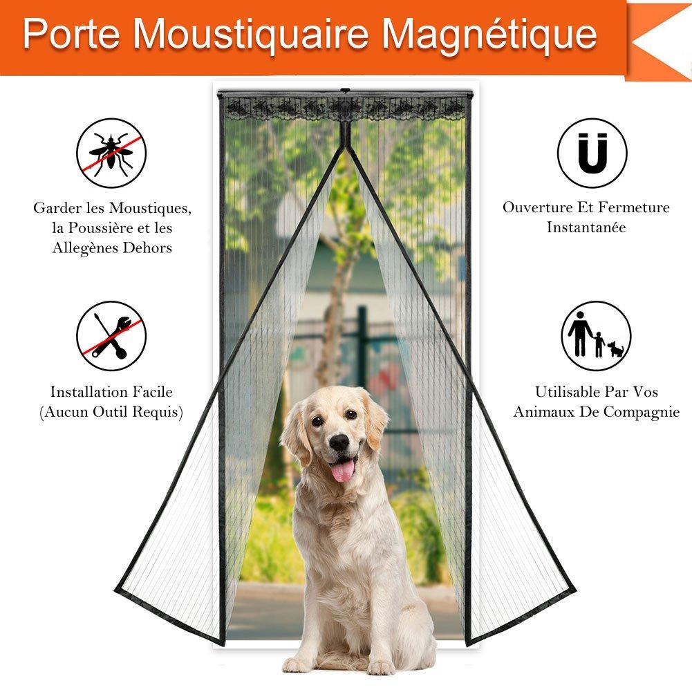 CosyVie Rideau Moustiquaire de Porte 90x210CM Moustiquaire Magné tique pour la Porte Anti Mouche/Insecte/Moustique Pratique