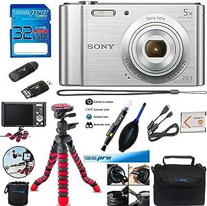 Sony Cyber-Shot DSC-W800 Digital Camera (Silver) + Deal-Expo Accessories Bundle