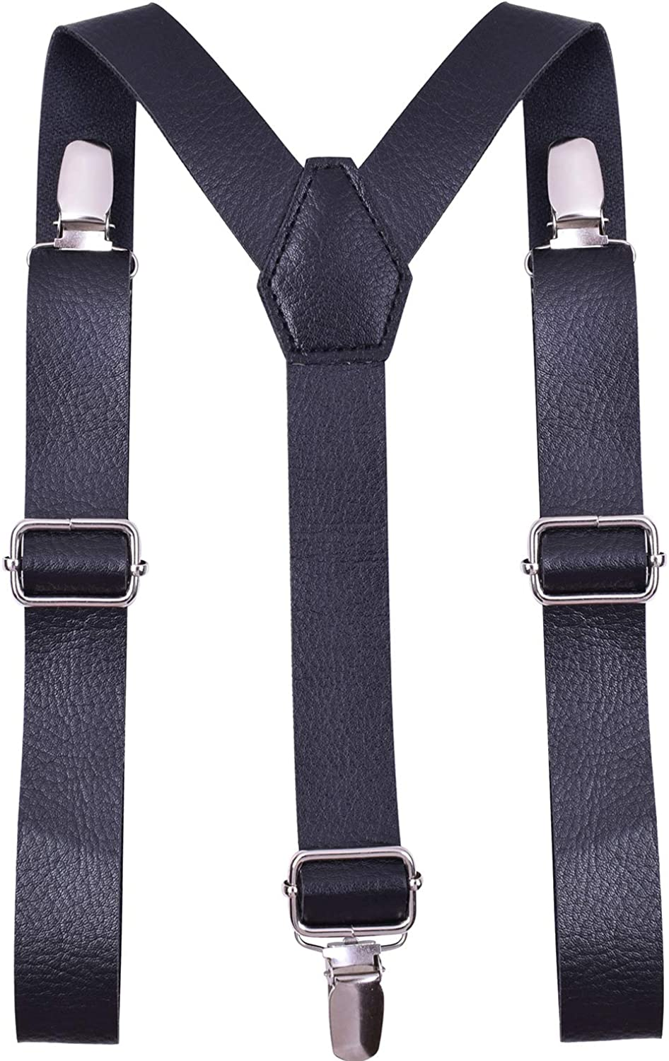 WDSKY Mens Kids Suspenders and Bow Tie with Leather Y-Back Elastic