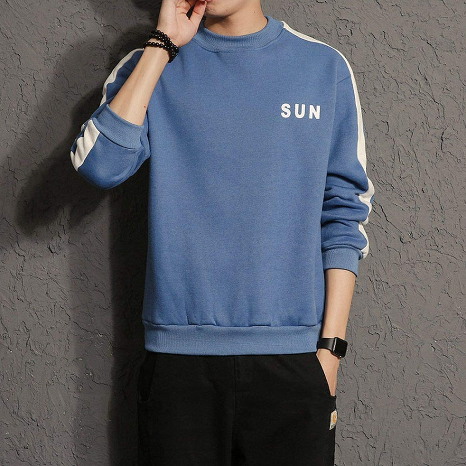 Men Hoodies Spring O-Neck Long Sleeve Sweatshirt for Men Casual Streetwear Hoodies,Blue,L