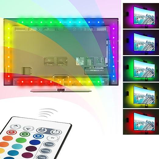 USB Tira LED Luz, Ubenmart RGB TV ambiente de iluminación, LED TV retroiluminación, iluminación USB para TV, Tira de luz LED RGB con control remoto, 16 colores: Amazon.es: Iluminación