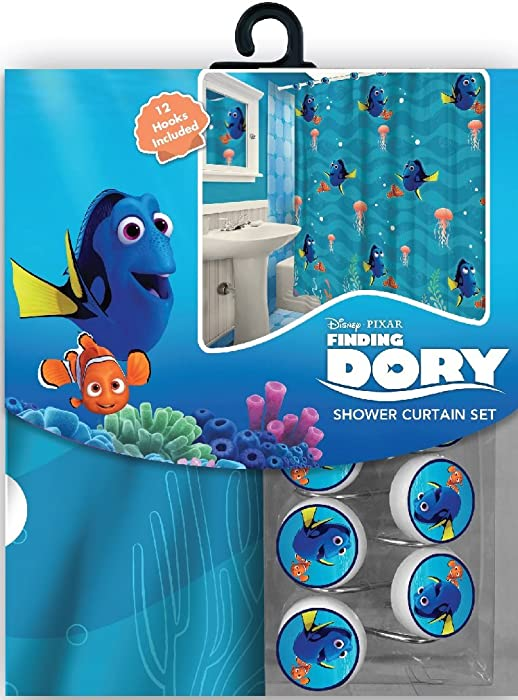 All New Fabric Shower Curtain Set Disney 12 Matching Hooks (Finding Dory)