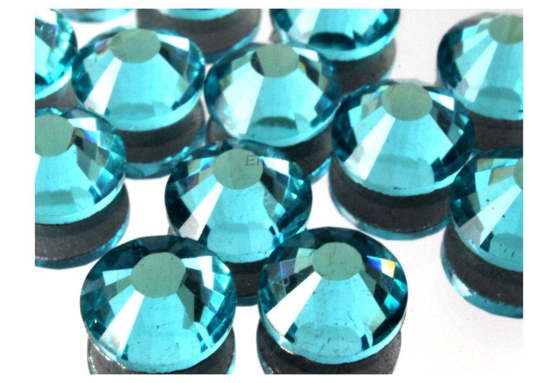1440 x (Aquamarine ss20 (4.8mm), 45 Colours 5 Sizes, EIMASS® 7767 DMC Hot Fix Glass Rhinestones, Flat back Gems, Diamante with Glue Backing, Pack of 1440 Crystals