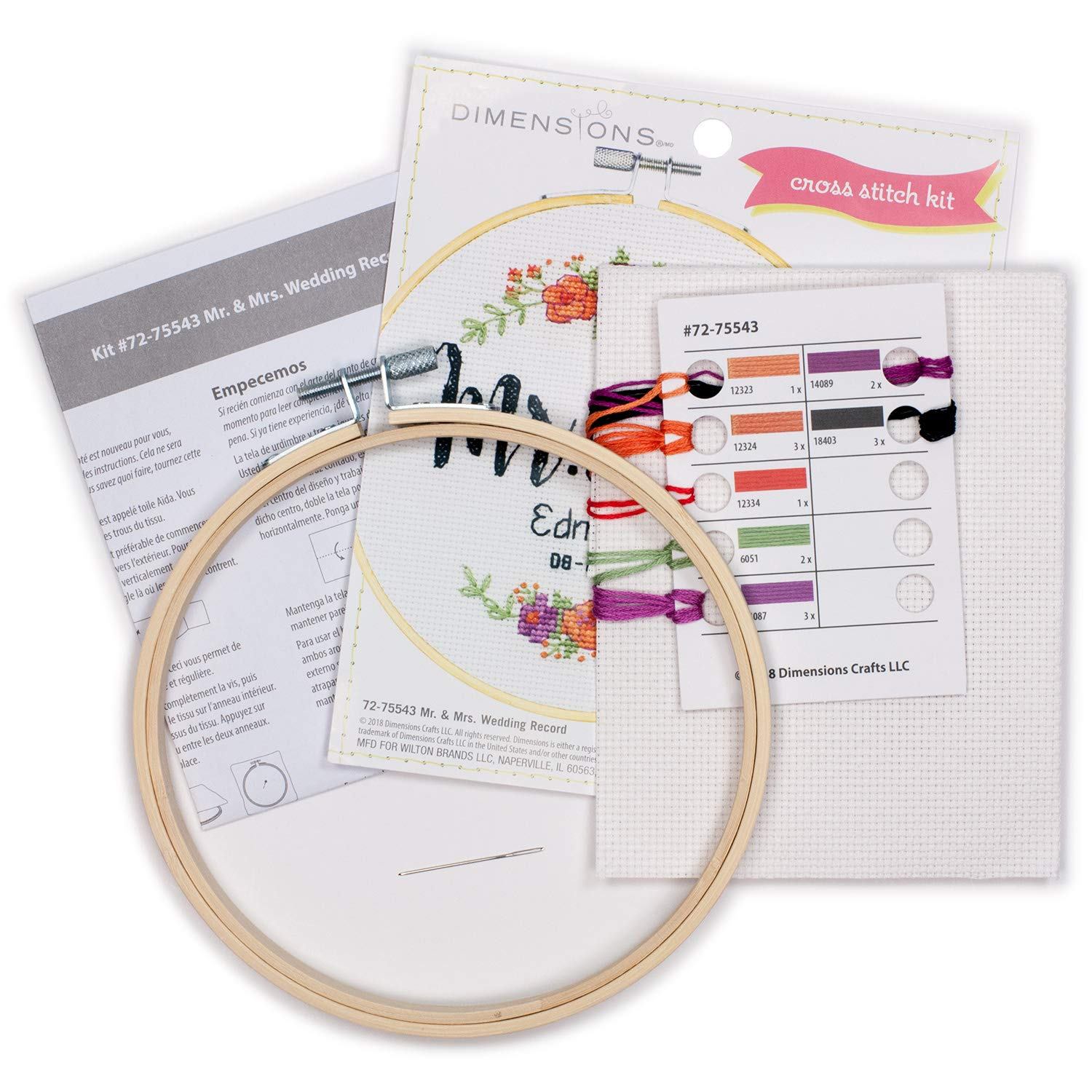 Counted Cross Stitch Kit for Beginners Dimensions Arts and Crafts Mr 6D and Mrs 14 Count White Aida