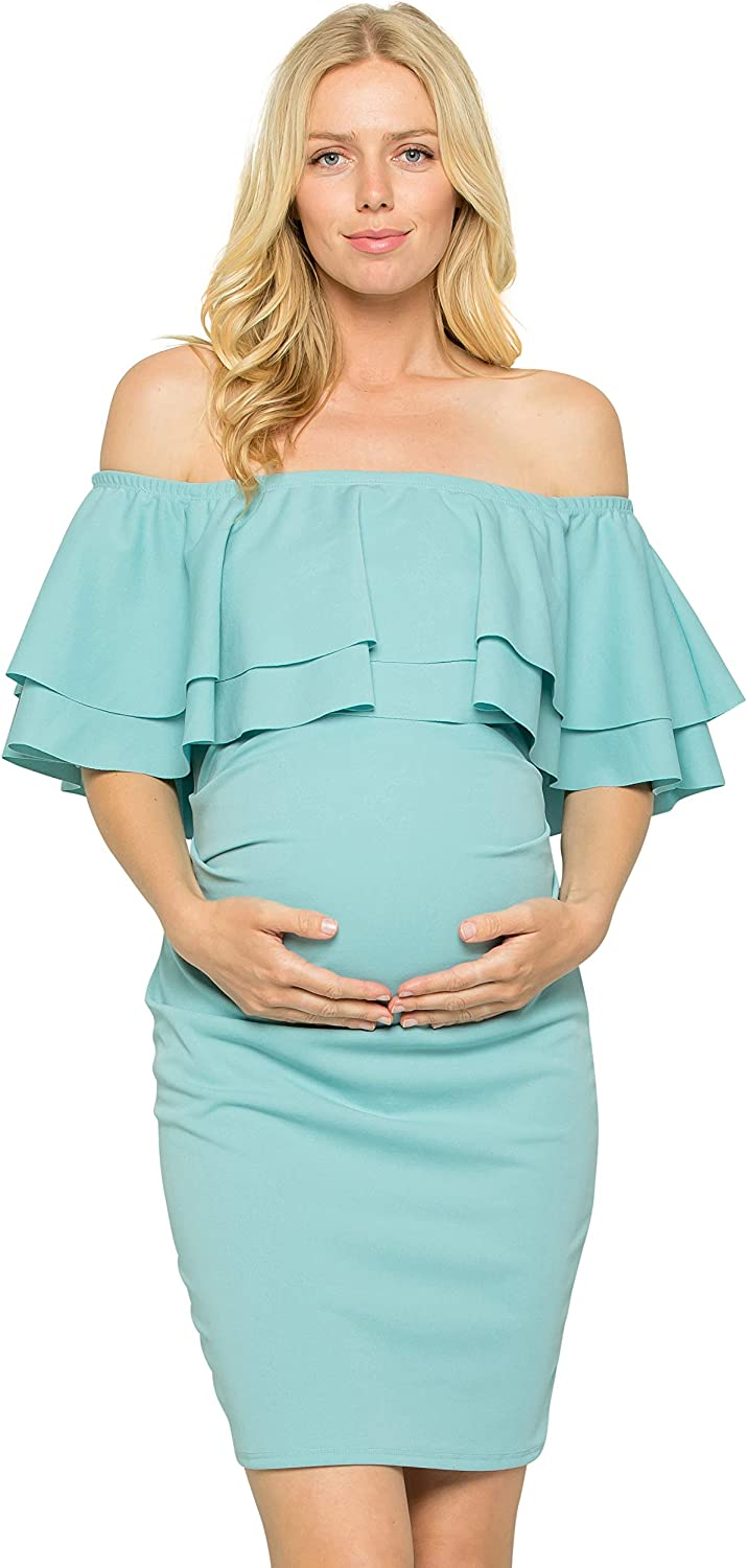 My Bump Double Layer Ruffle Maternity Dress Fitted Off Shoulder Baby Shower Pregnancy At Amazon Women S Clothing Store