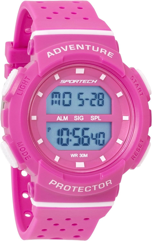 Reloj Deportivo Deportivo Deportivo Digital para Mujer/niña, Rosa y Blanco, Resistente al Agua SP12702