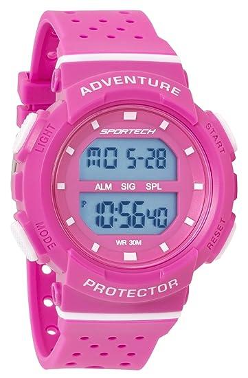 Reloj deportivo deportivo deportivo digital para mujer/niña, rosa y blanco, resistente al agua SP12702: Amazon.es: Relojes