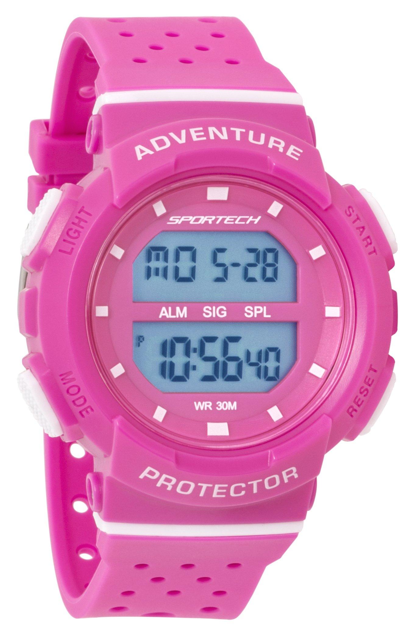 SPORTECH Women's/Girls' | Pink & White Digital Water-Resistant Sports Watch | SP12702