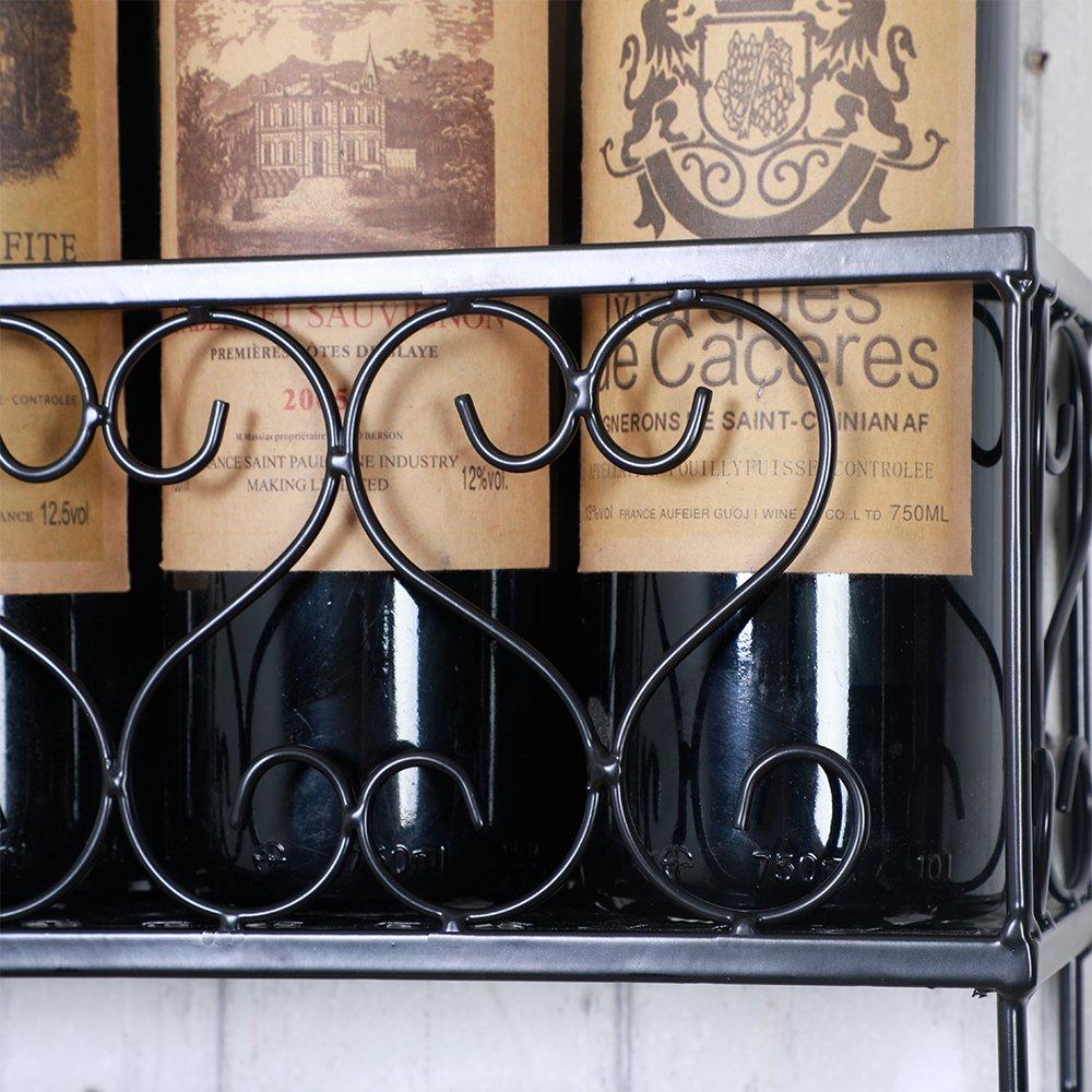HENGHAO Wall Mounted Metal Wine Racks, Bottle & Glass Holder, Home & Kitchen Decor, 6 Bottles, Black (20'') by HENGHAO (Image #4)