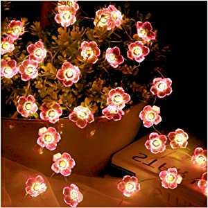 Flower String Lights for Girls Kids Bedroom Decorations - Pink Cherry Blossom 30 LED Decorative Fairy Night Light - Waterproof Indoor Outdoor Wedding Birthday Party Wall Decor Battery Operated 10FT