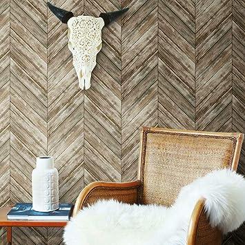 Roommates Herringbone Brown Wood Boards Peel And Stick Wallpaper Removable Wallpaper Self Adhesive Wallpaper Amazon Com