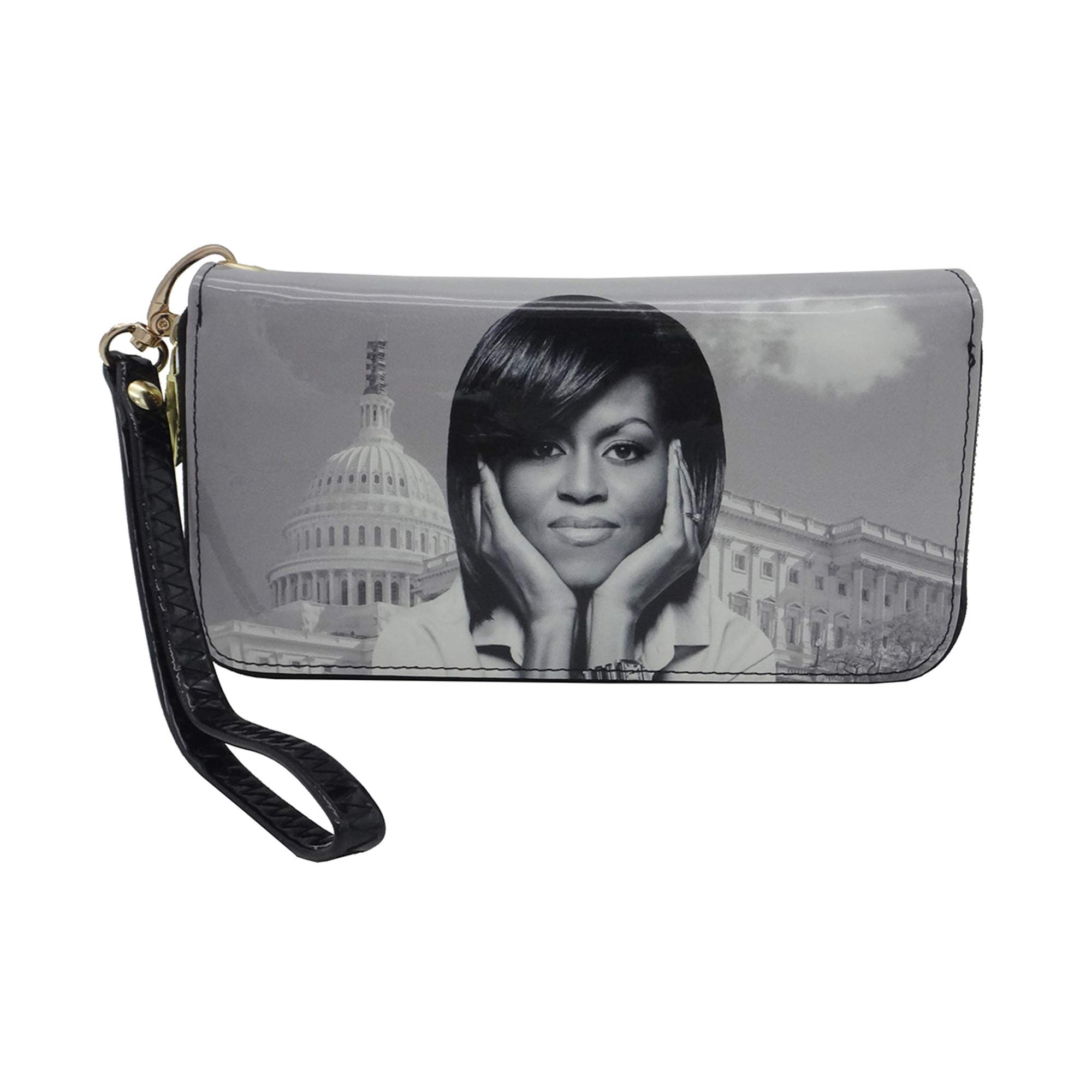 Michelle Obama Single Picture Style Wallet (Black and White-2)