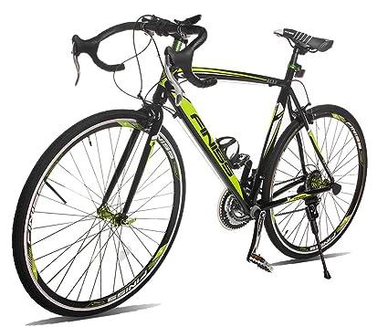 73c75e8f4d2 Merax Finiss Aluminum 21 Speed 700C Road Bike Racing Bicycle (Black    Green