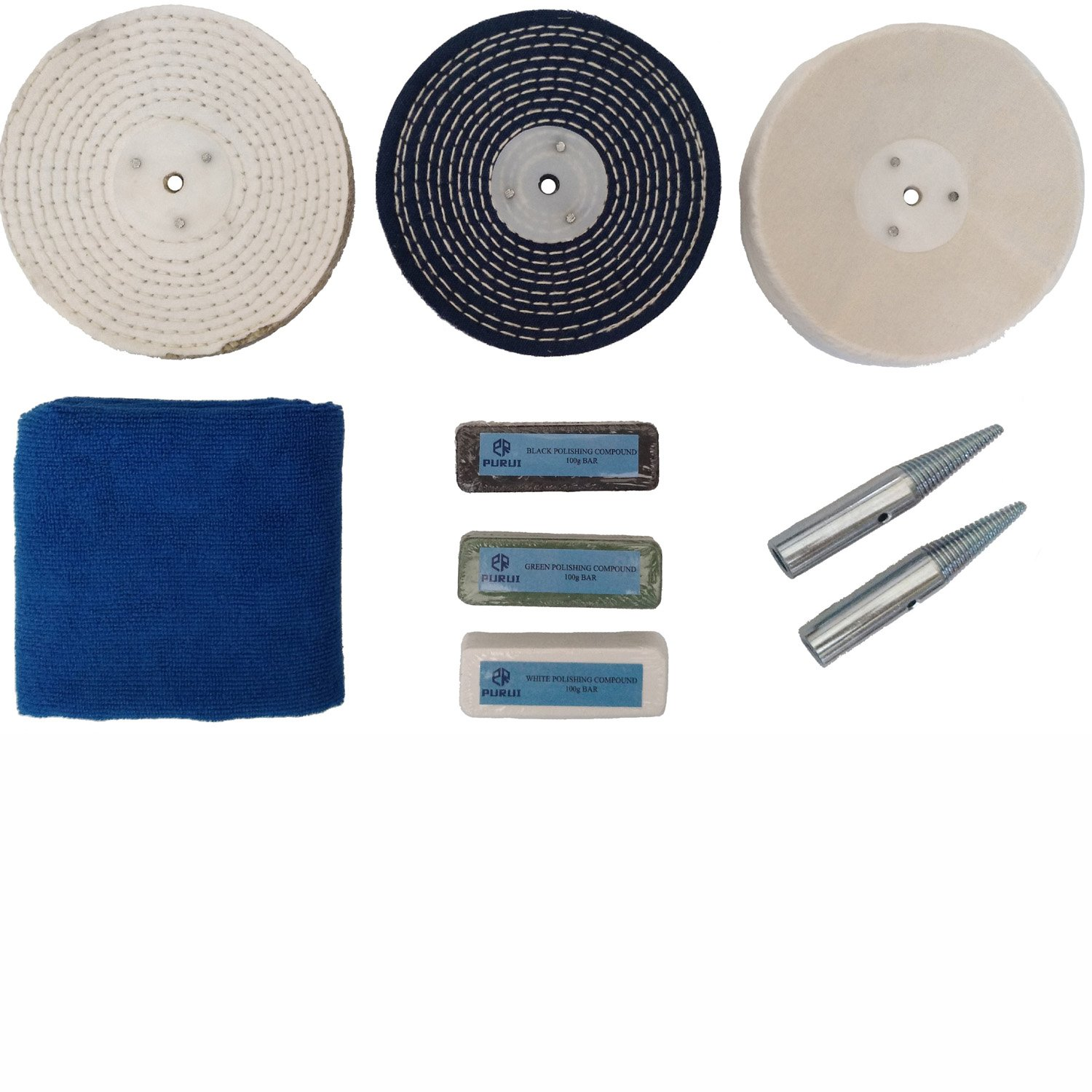 PURUI 6'' Stainless Steel Polishing Buffing Kit Use on Bench Grinder