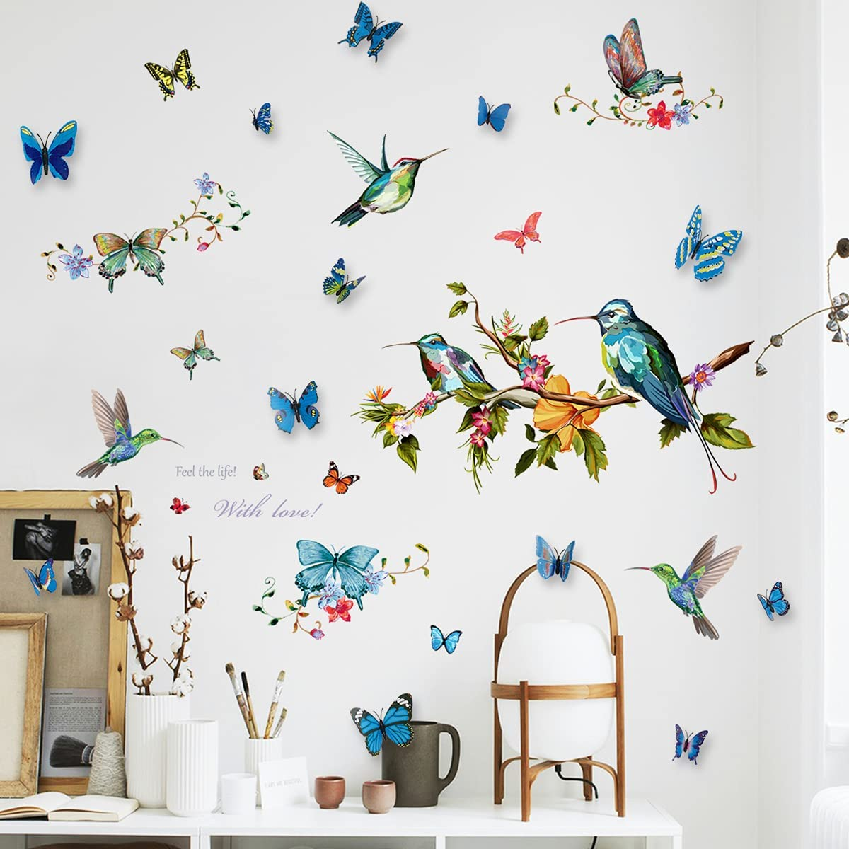 DIY Hummingbirds Wall Decal with 12Pcs 3D Butterfly Wall Sticker, LASZOLA Removable Watercolor Bird Flower Butterflies Home Nursery Decor Art Murals Paper Decoration for Bedroom Living Room