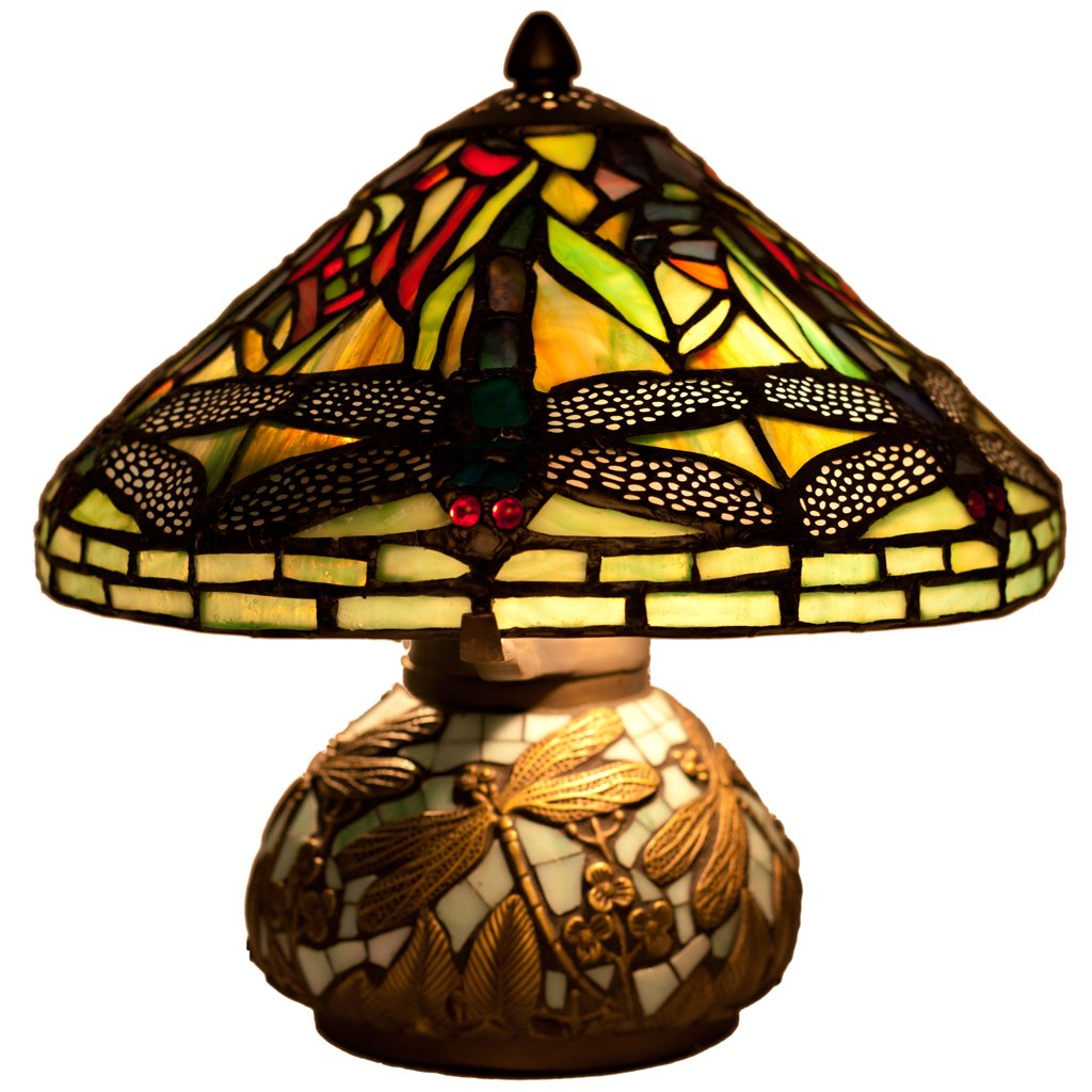 10'' H Stained Glass Mini Dragonfly Table Lamp w/ Mosaic Base