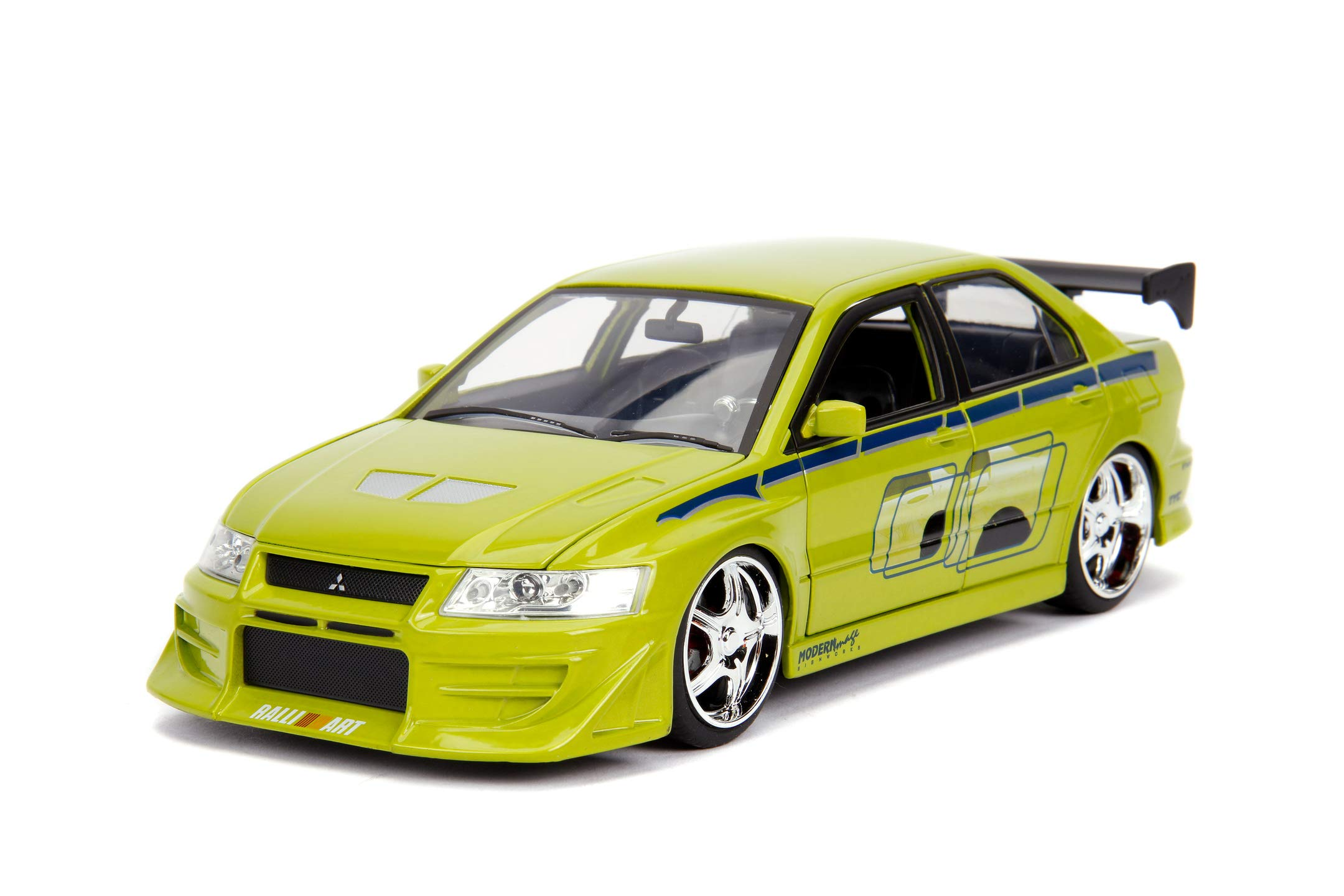 Jada Toys Fast & Furious 1:24 Brian's Mitsubishi Lancer Evolution VII Die-cast Car, Toys for Kids and Adults, Lime Green (99788)