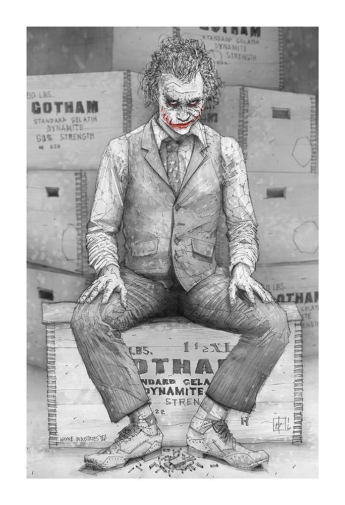 Why So Serious Giclee Print Of Pencil Drawing Of Heath Jedger As The Joker From The Dark Knight