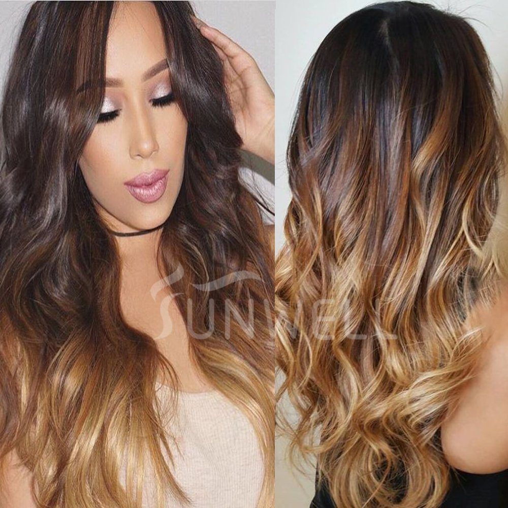 Human Hair Wigs for Black Women, Sunwell Lace Front Wigs Human Hair with Baby Hair Body Wave #1B/4/27 Ombre Color 3 Tone 130% Density 20inch