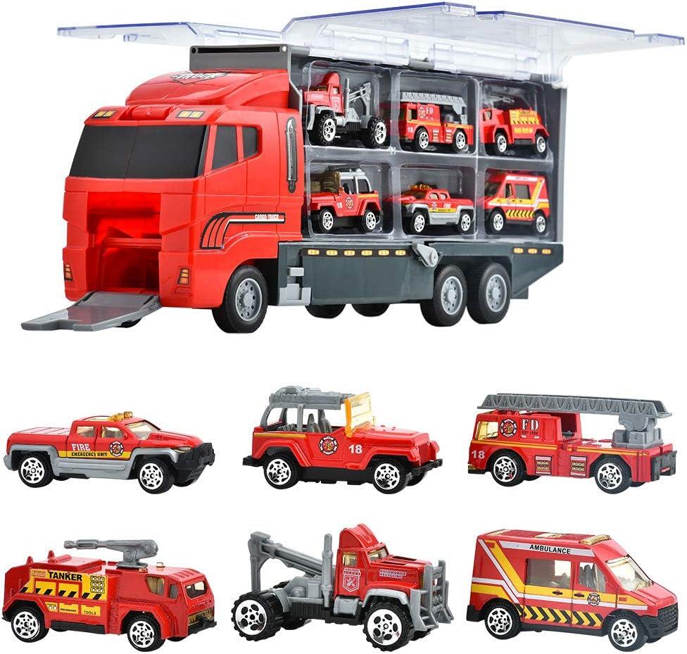 Juguetes De Construcción Juegos Vehículos De Metal para Niños Juego Tractor Camión Volquete Excavadora Remolque Juguete Carro De 3 Años Conocer Coches Juguete Educativo (D)
