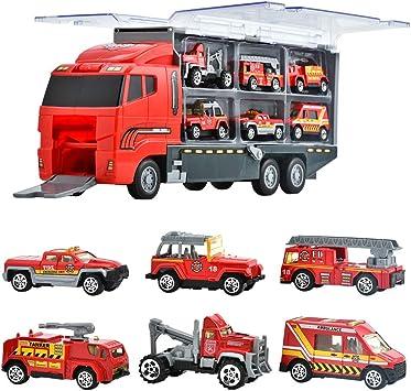 Oferta amazon: Juguetes de Construcción Juegos Vehículos de Aleación para Niños Juego Tractor Camión Volquete Excavadora Remolque Juguete Carro de 3 Años Conocer Coches Juguete Educativo (D)