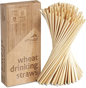Biodegradable Drinking Straws, Pack of 200 – Non-Soggy, Flavorless, BPA-Free, Compostable Straws Alternative to Plastic Straws – Sustainable Products by Efiwasi