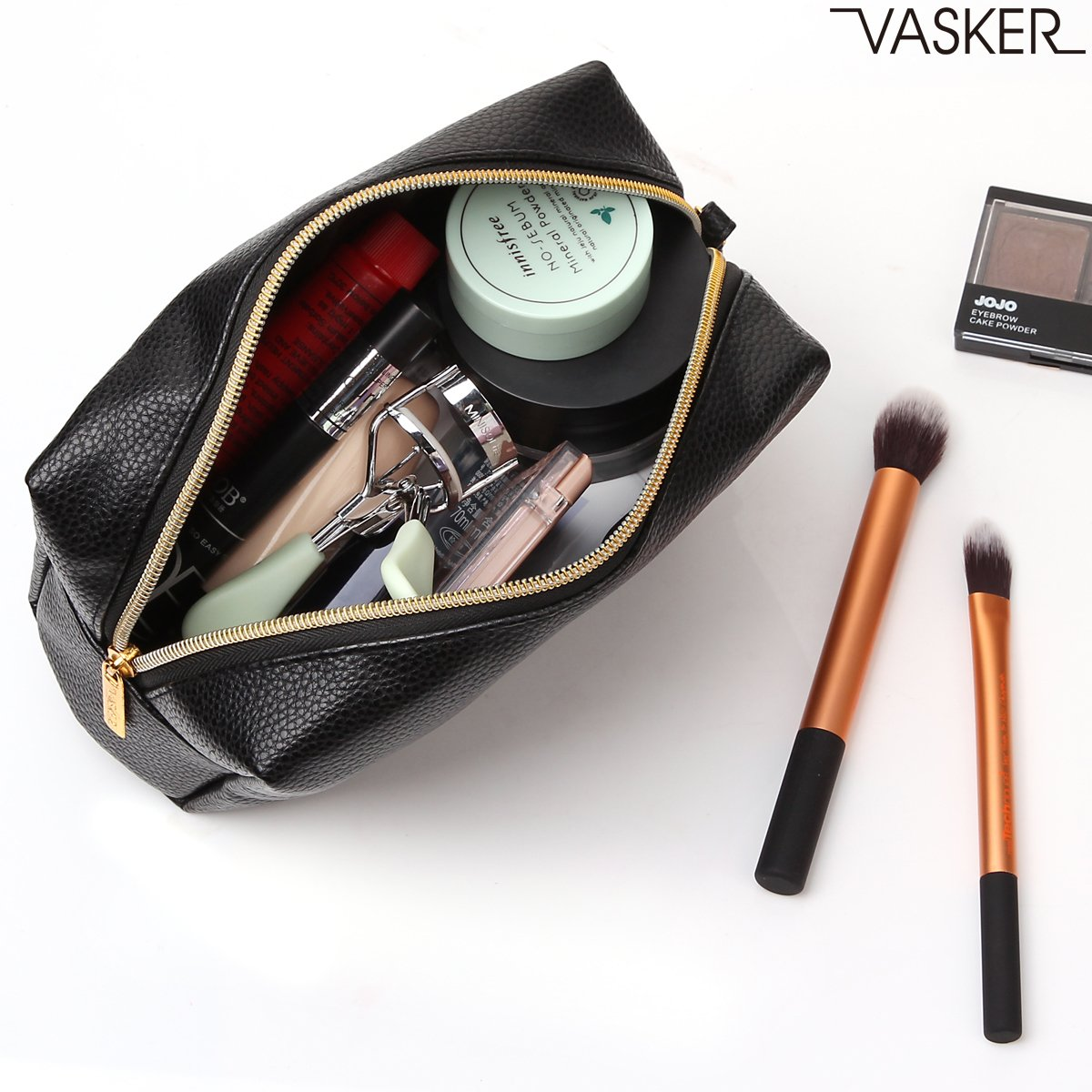 VASKER PU Leather Makeup Bag Handy Cosmetic Pouch Travel Portable Handbag Purse Toiletry Storage Bag Large Organizer with Zipper Women by VASKER (Image #6)