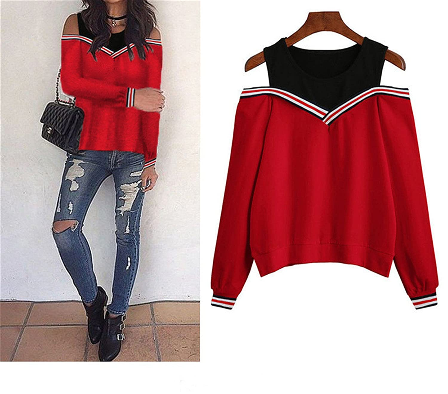 Kateirmaso Female Jumper Sweatshirt Off Shoulder Patchwork Hoodies Top Autumn Winter Neck Pullovers Tracksuit Ladies Tops at Amazon Womens Clothing store: