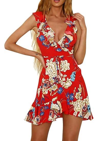 Battercake Vestidos De Mujer Casual Vintage Flores Estampado Vestido Playa Elegantes Fashion Casuales Mujeres Sin Mangas V Cuello Volantes Vestidos De ...