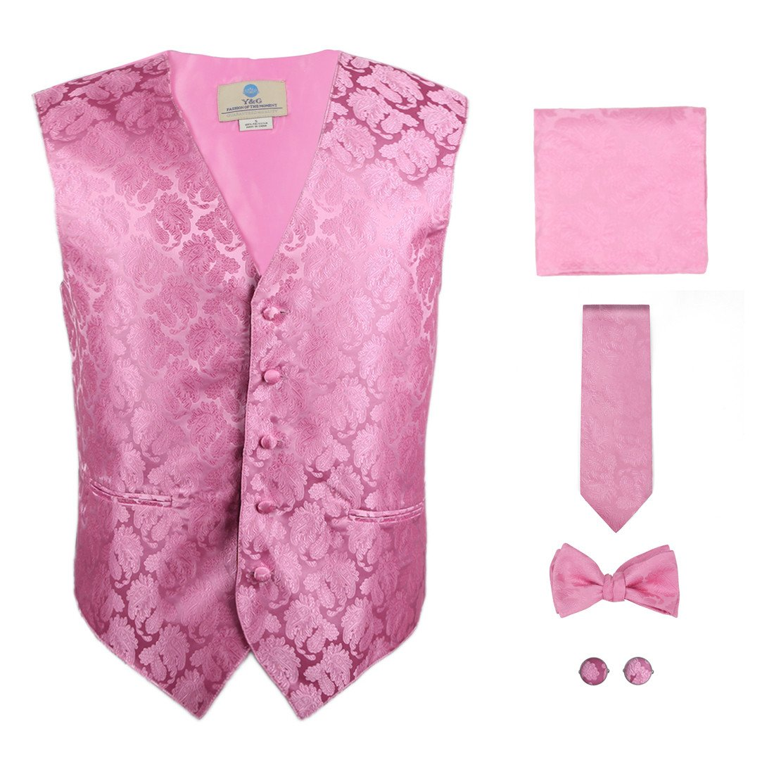 Y/&G Mens Fashion Groom Pattern Mens Vest Tie Bowtie Cufflinks Hanky Best Gifts YGA1B01
