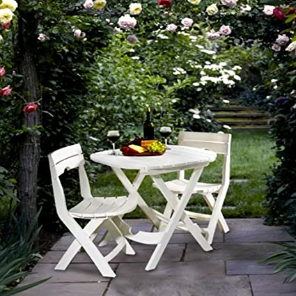 Amazoncom Tall Round Bistro Table Set Piece White Dining Table - Commercial outdoor bistro table and chairs