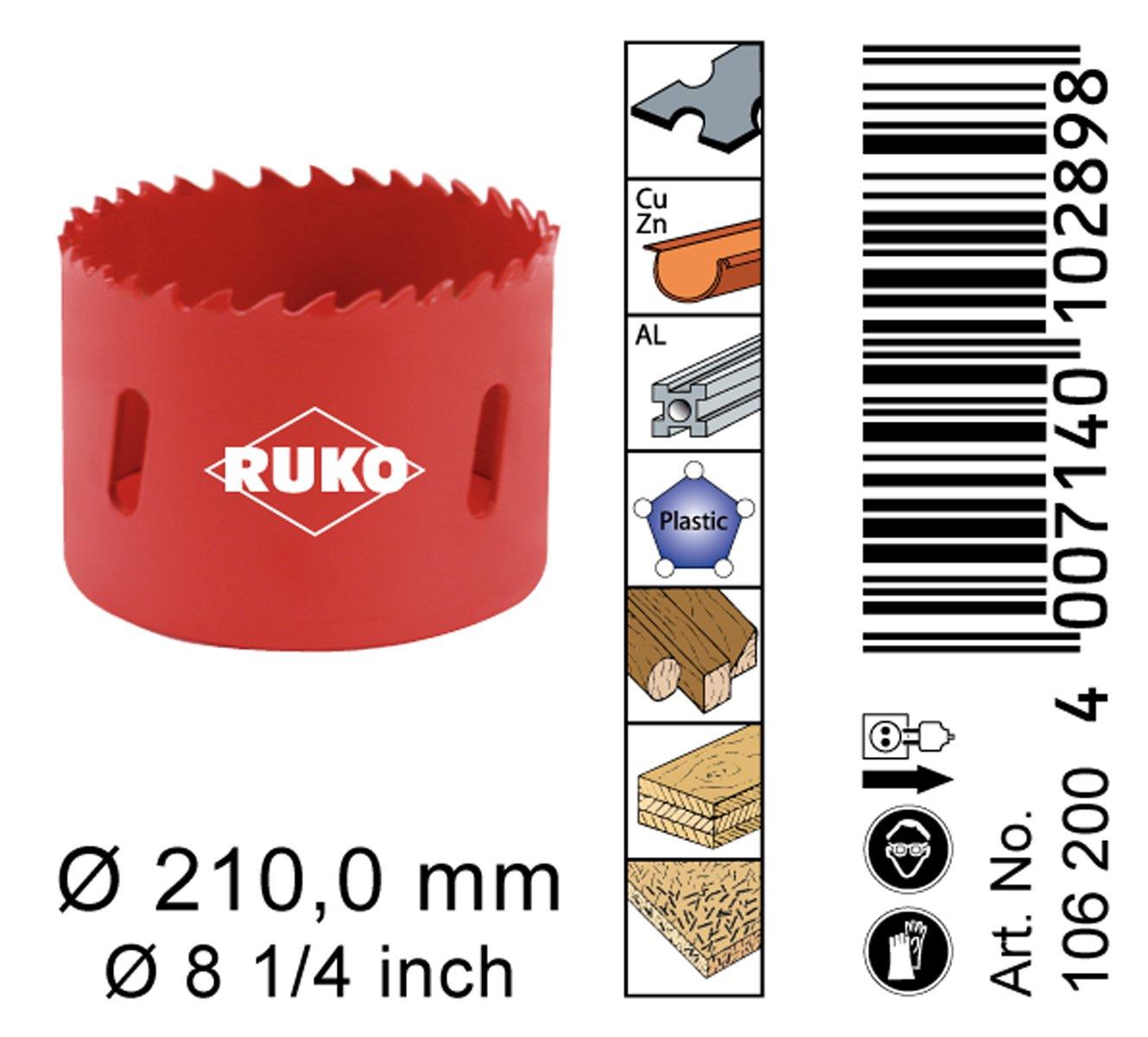 8-1//4 RUKO 106200 High Speed Steel Bi-Metal Hole Saw