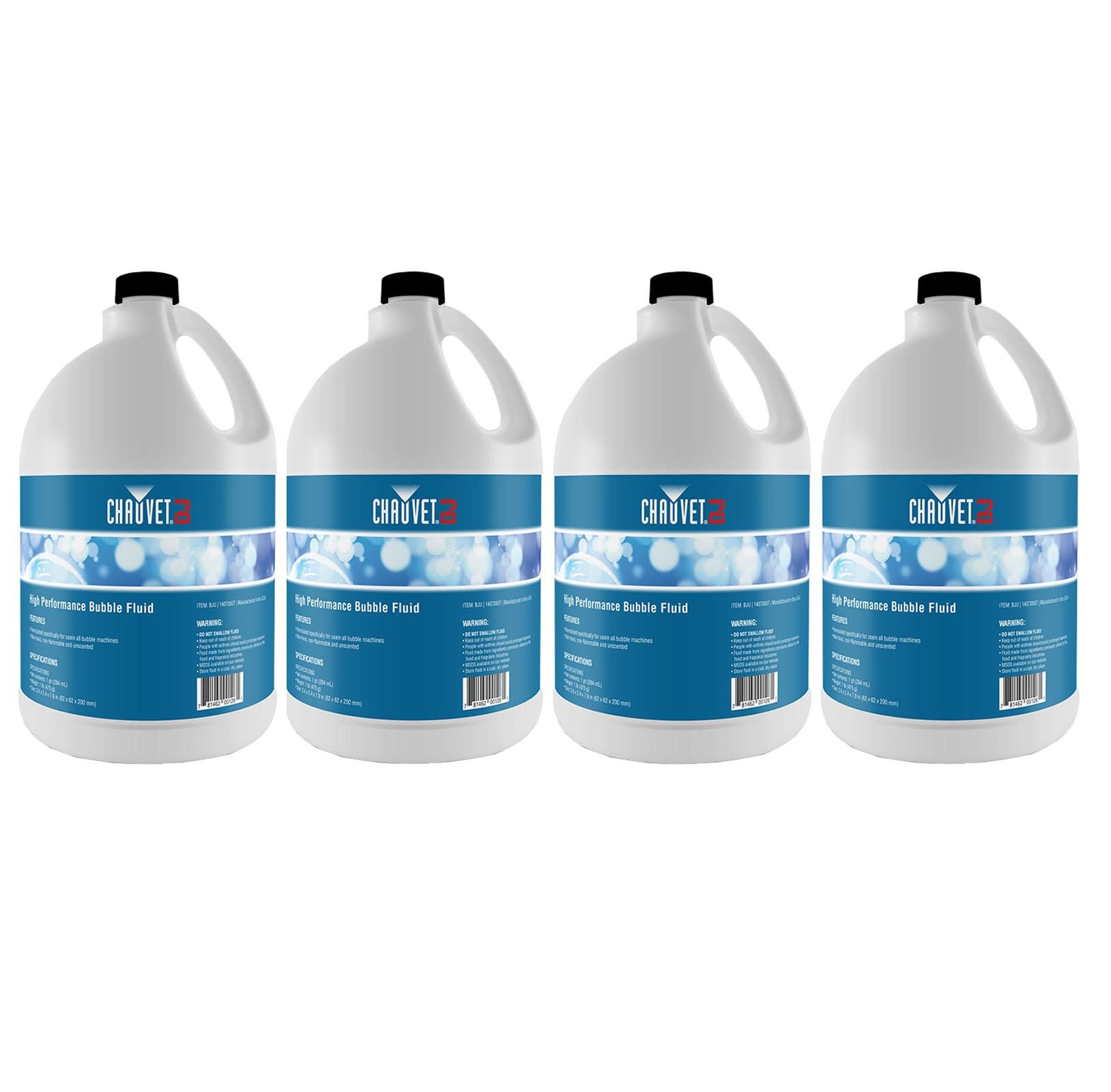 Chauvet High-Performance Non-Staining Bubble Fluid, 1-Gallon (4 Pack) | 4 x BJU