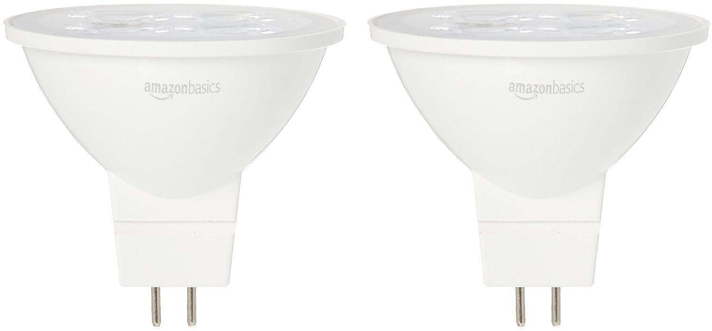 AmazonBasics 50 Watt Equivalent, Daylight, Dimmable, MR16 LED Light Bulb   2-Pack