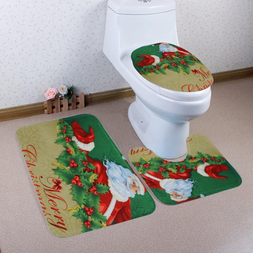 Bath Rug Set,vmree 3Pcs Home Christmas Toilet Foot Pad Seat Cover Radiator Cap Bathroom Sets for Home Bathr oom Tub Wood Floors (B)