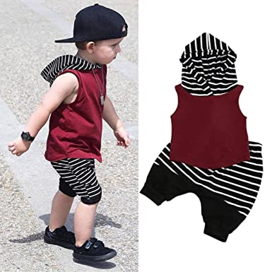 a2b3fc154de Fanteecy Summer Baby Boy Clothes Toddler Kids Outfits Sleeveless Hoodies  Vest Tops+Striped Shorts Pants