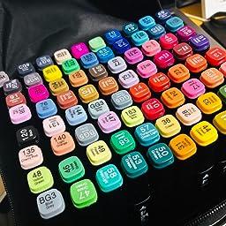 Amazon Co Jp カスタマーレビュー マーカーペン80色 イラストマーカー Yuntech 豊富な色 太細両端 油性 ツインマーカー色ペン Diy 学習用 美術 絵描き 落書き 色塗り 子供大人 イラストや手帳に最適 収納ケース付き