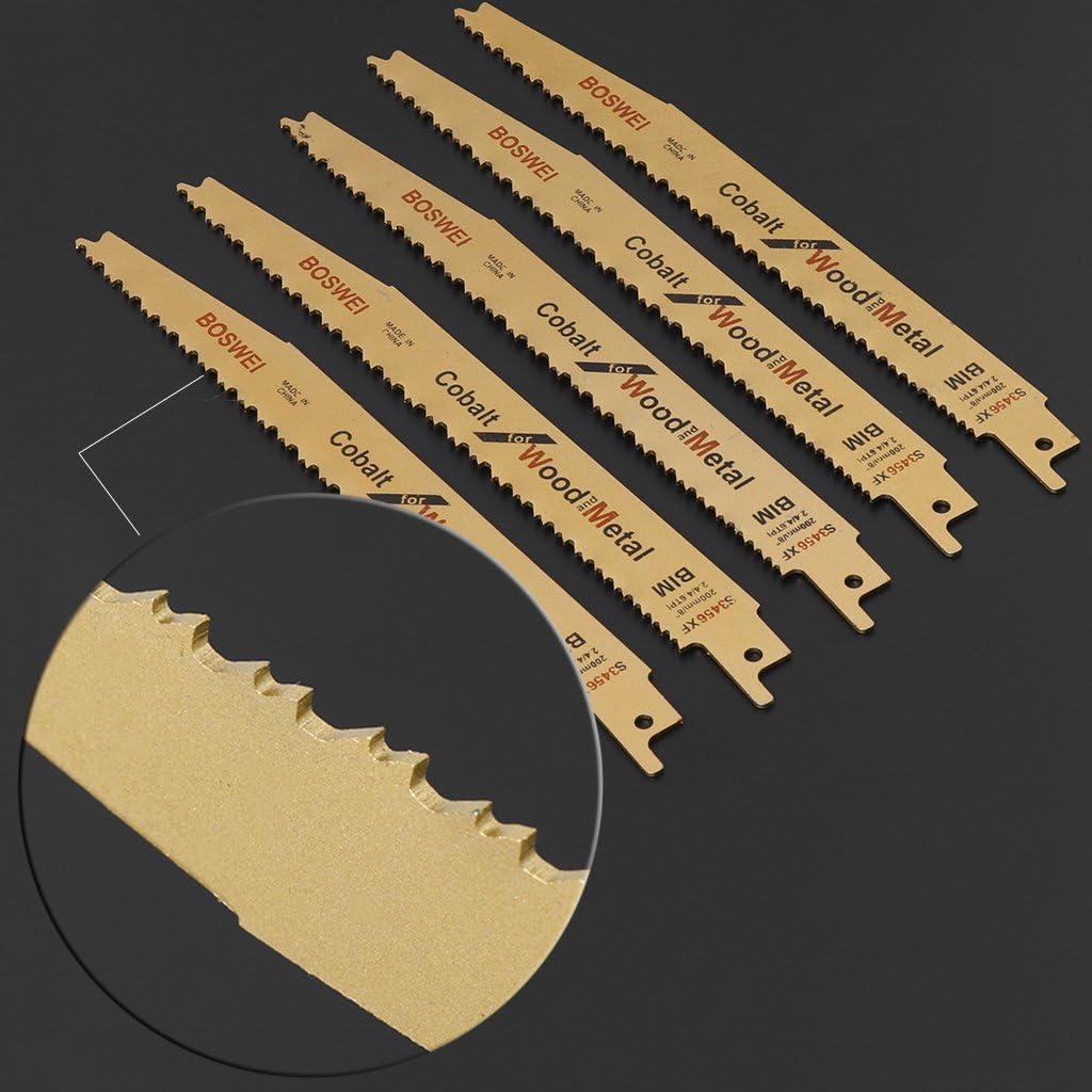Yintiod S3456XF Lot de 5 lames de scie sabre pour m/étal et bois 20,3 cm