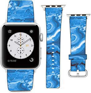 Compatible with Apple Watch Wristband 42mm 44mm, (Abstract Blue Marble Pattern) PU Leather Band Replacement Strap for iWatch Series 5 4 3 2 1