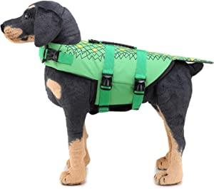 Zunea Dog Life Jacket Pet Floatation Vest, Adjustable Dogs Swimming Saver for Small Medium Large Dogs Swimsuit Preserver with Handle for Pool Beach Boating Green